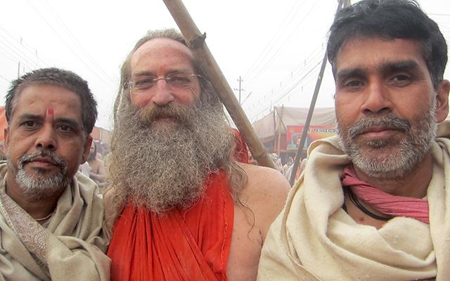 """Juna Akhara Purohits with Baba Rampuri"""
