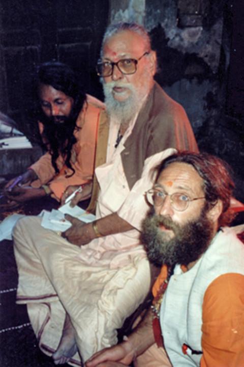Naga Sadhu Shri Mahant Kapil Puri with chelas Baba Rampuri and Mahamandaleshwar Banwari Puri